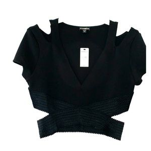 NWT Express Black dressy, bandage crop top
